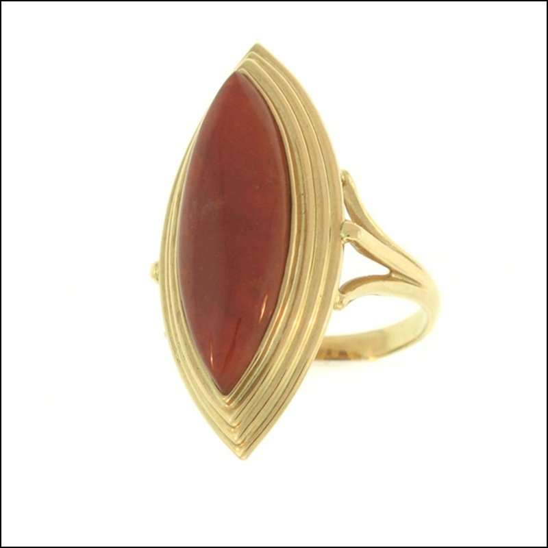 NATURAL RED JADE RING