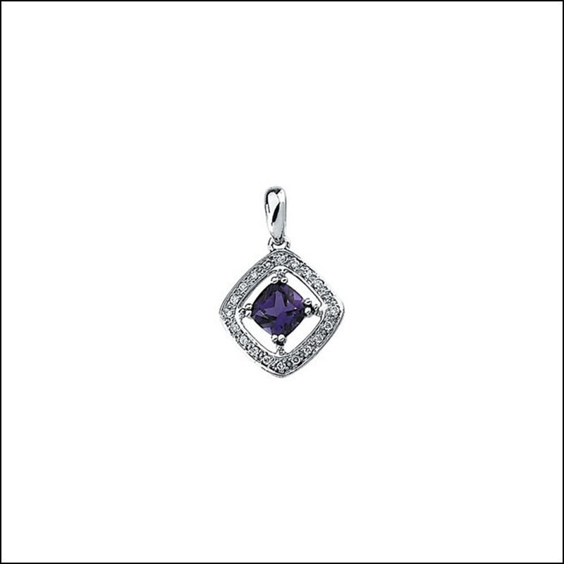 GENUINE AMETHYST & DIAMOND PENDANT