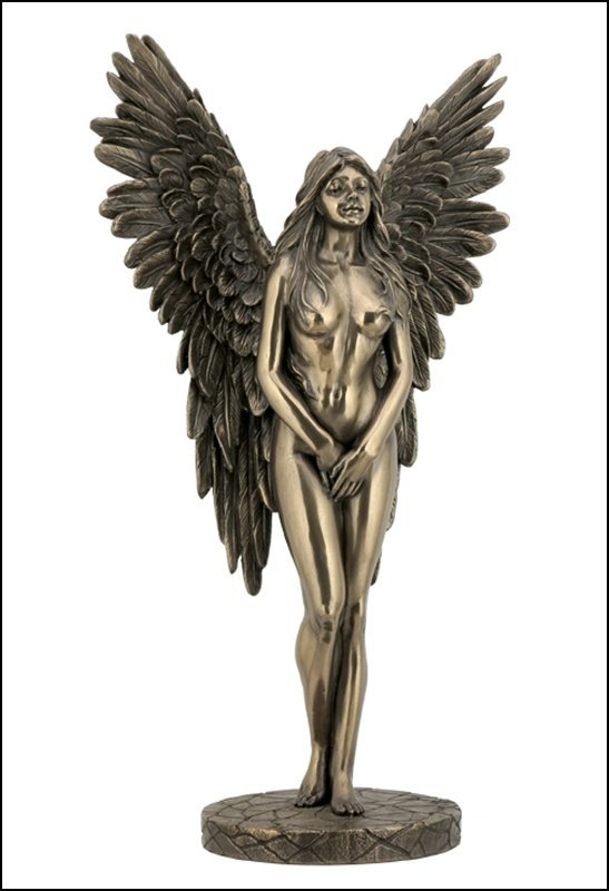 WINGED NUDE FEMALE STANDING - BRONZE