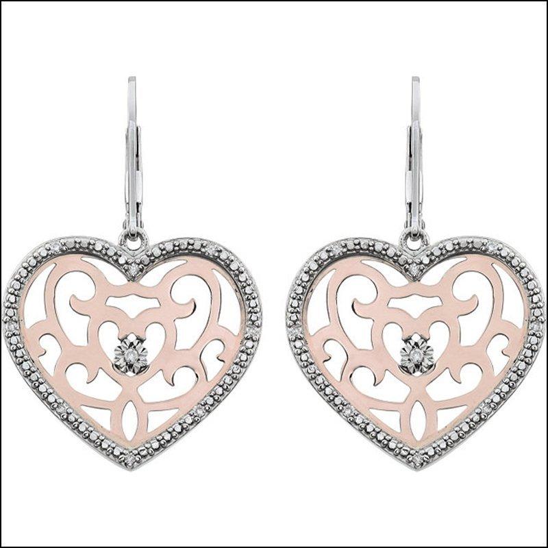 DIAMOND HEART SHAPE LEVER BACK EARRINGS