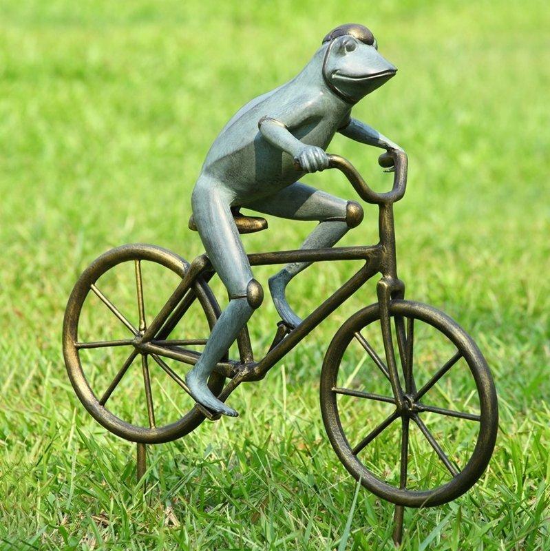 FROG ON BICYCLE GARDEN SCULPTU
