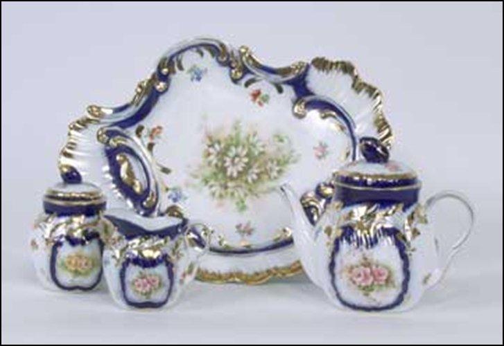 BLUE & GOLD TEA SET (PC) - DIMENSIONS:  5.75H 12.00W