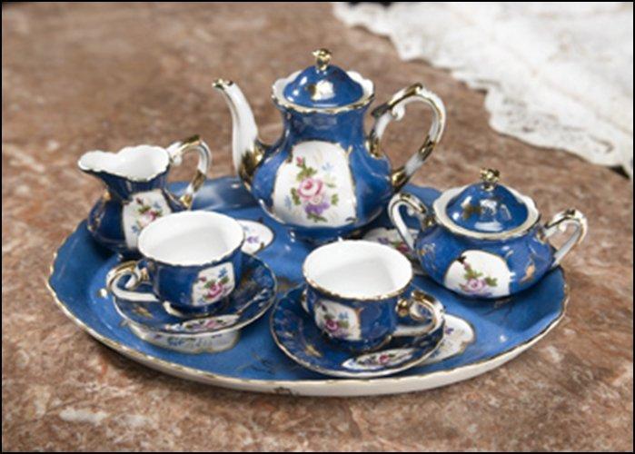 TEAL BLUE TEA SET - DIMENSIONS:  3.75H 4.50W 3.00D