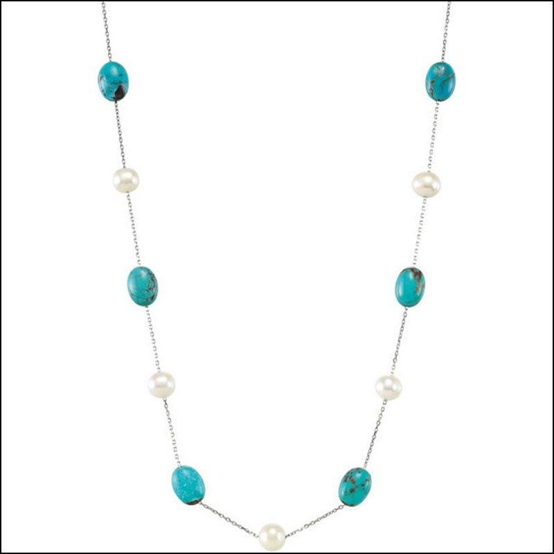 """FRESHWATER CULTURED PEARL & GENUINE TURQUOISE 42"""""""