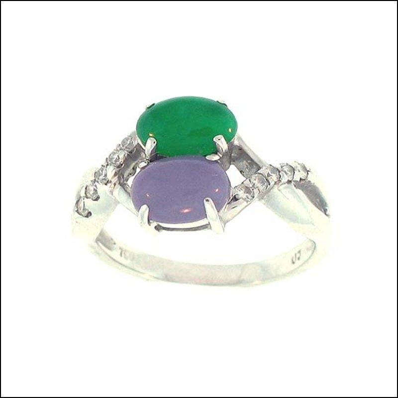 NATURAL GREEN LAVENDER JADE RING
