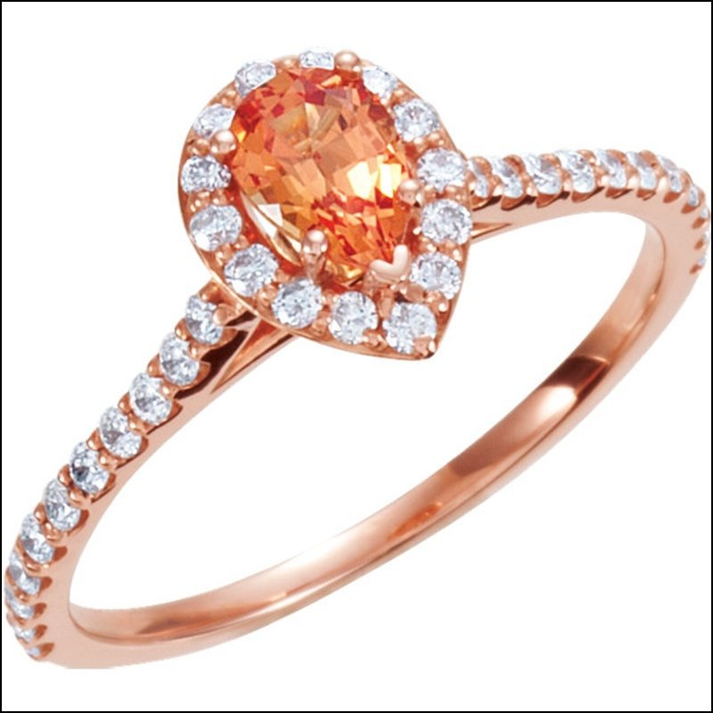 HALO-STYLED PEAR-SHAPED ENGAGEMENT RING OR MATCHING