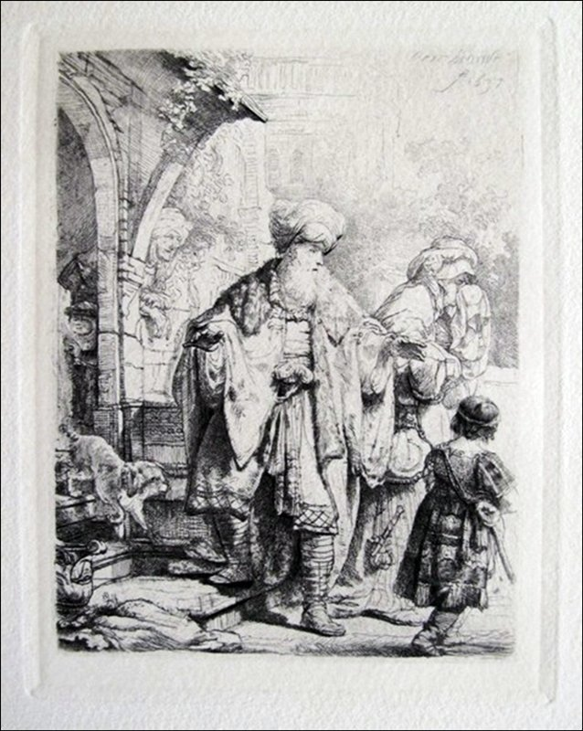 REMBRANDT ABRAHAM CASTING OUT HAGAR & ISHMAEL ETCHING