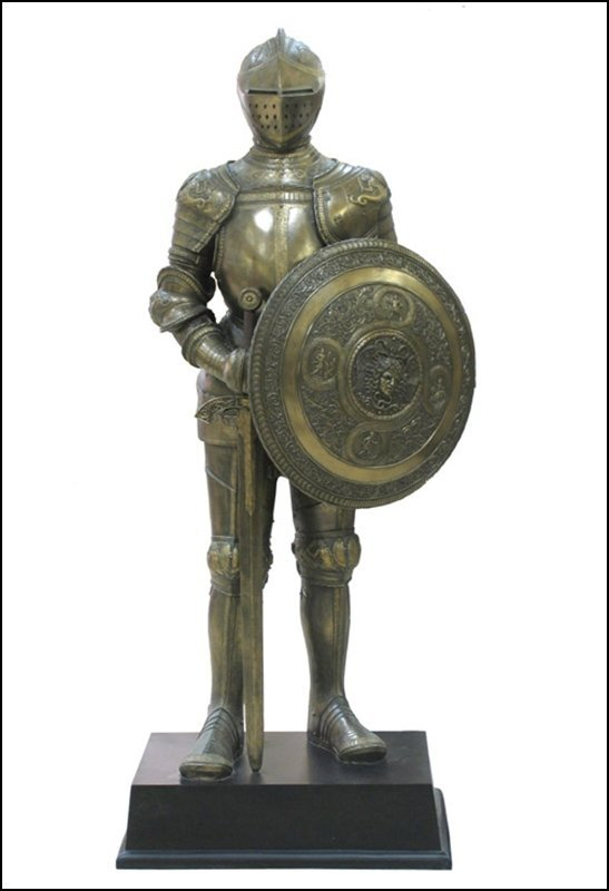 MEDIEVAL ARMOR WITH SWORAD AND SHIELD - BRONZE