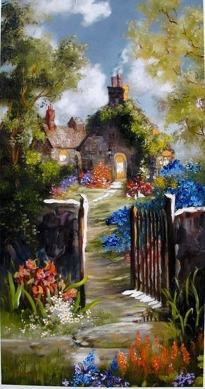 MARTY BELL ALLERFORD GARDEN HAND SIGNED & HAND PAINTED