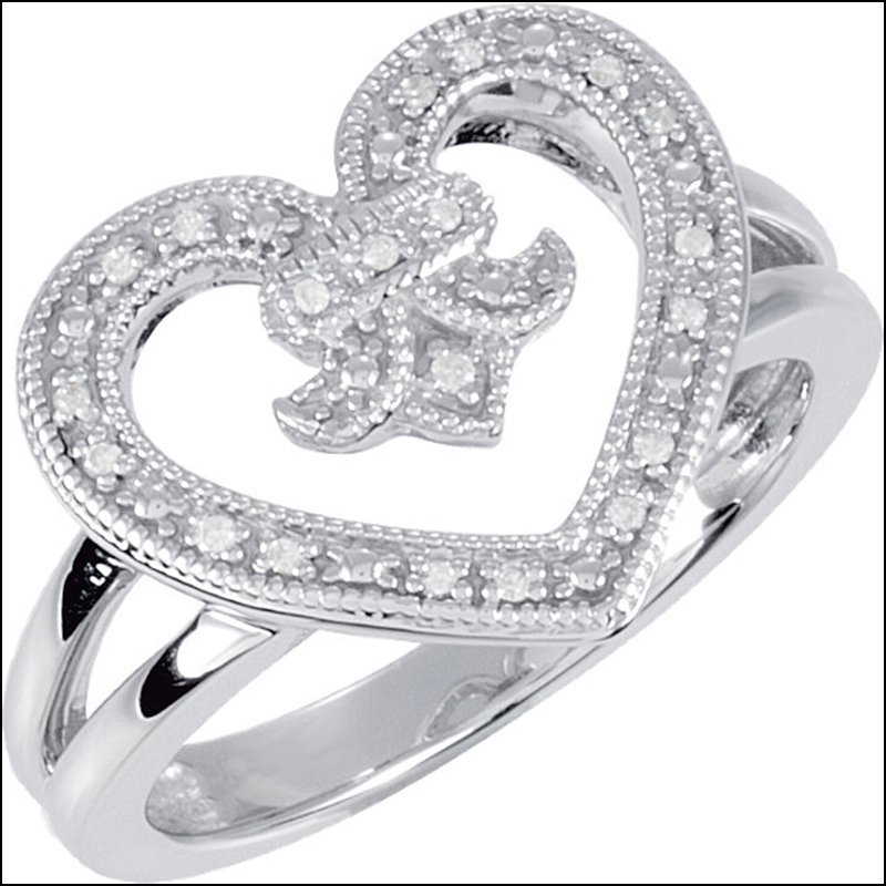 .07 CT TW DIAMOND HEART DESIGN RING