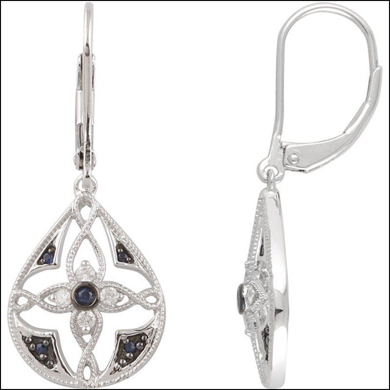 SAPPHIRE & DIAMOND  LEVER BACK EARRINGS