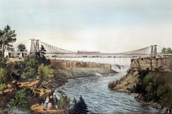 CURRIER AND IVES - THE RAIL ROAD SUSPENSION BRIDGE