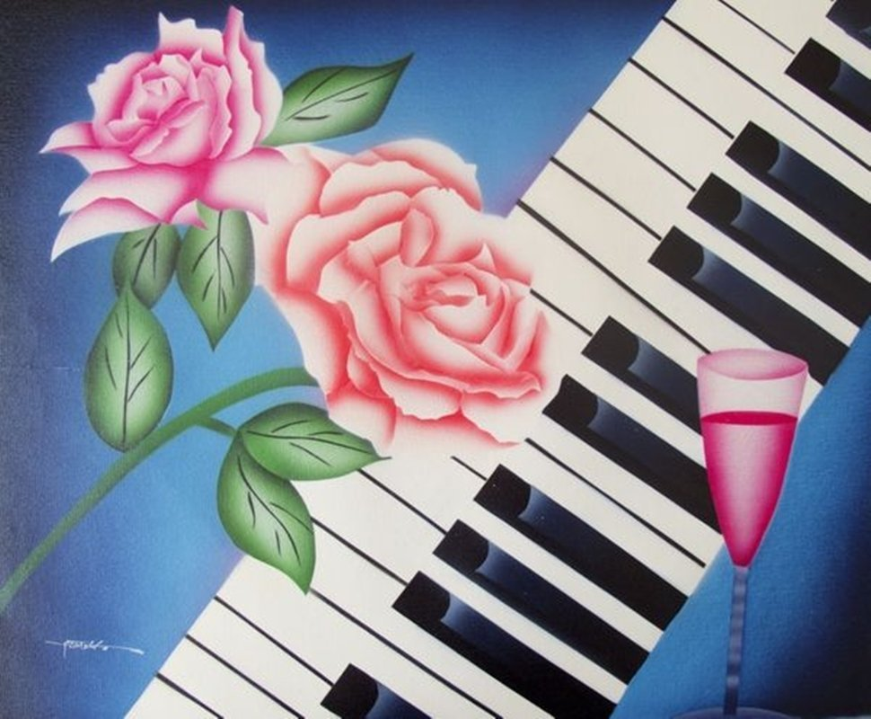 ROMANTIC MUSIC SIGNED ORIGINAL OIL PAINTING ON CANVAS