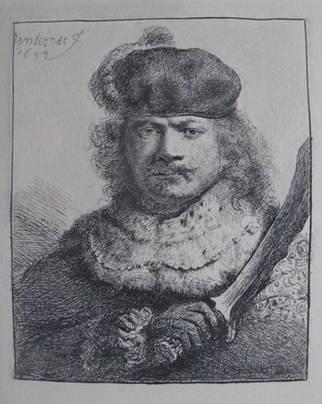 REMBRANDT SELF PORTRAIT WITH RAISED SABRE ETCHING