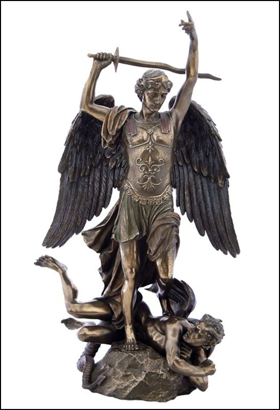ST. MICHAEL STANDING ON DEMON  - BRONZE