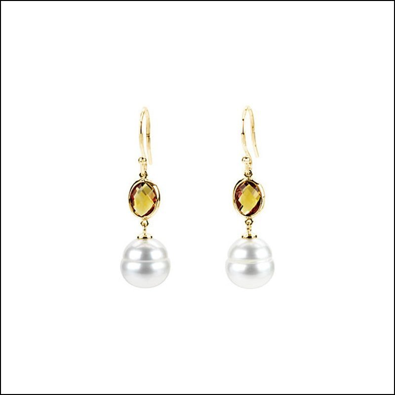 FRESHWATER CULTURED CIRCLE PEARL &GENUINE CITRINE