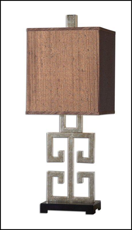GREEK KEY SILVER TABLE LAMP