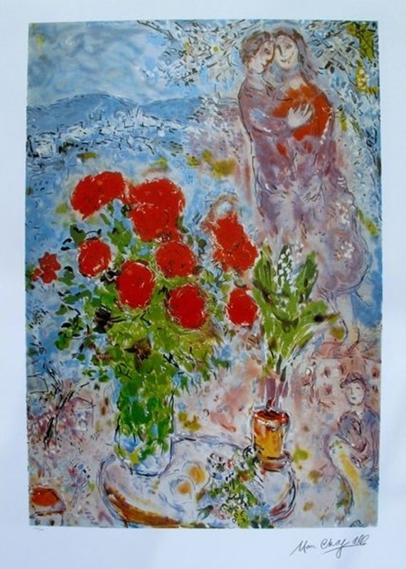 MARC CHAGALL RED BOUQUET WITH LOVERS LIMITED ED.