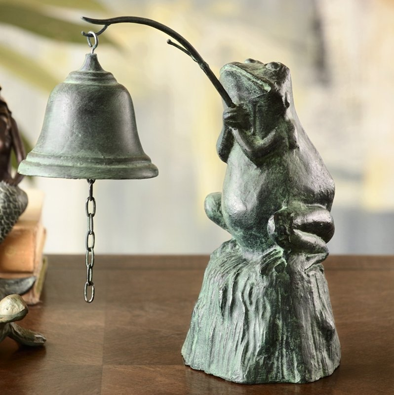 FROG FISHERMAN TABLE BELL