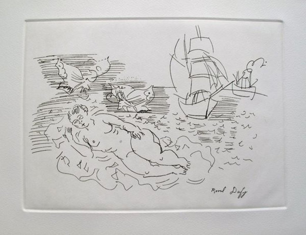 RAOUL DUFY ON THE BEACH RESTRIKE ETCHING