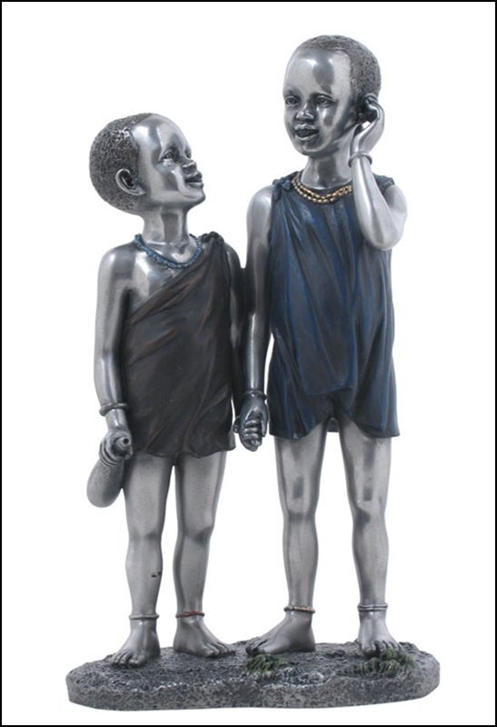 MAASAI KIDS HAND IN HAND - BRONZE