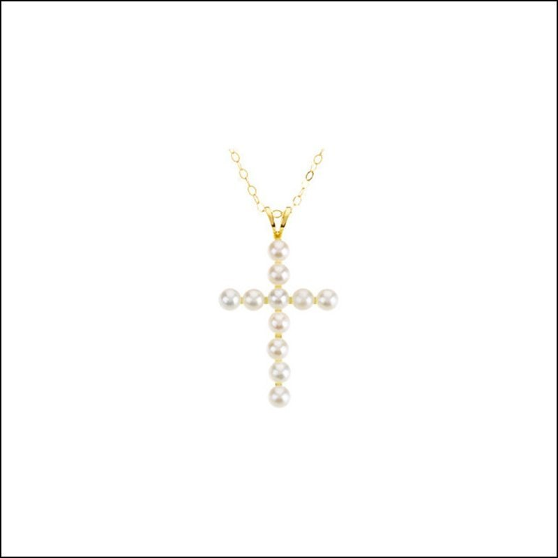 "YOUTH PEARL CROSS 15"" NECKLACE"