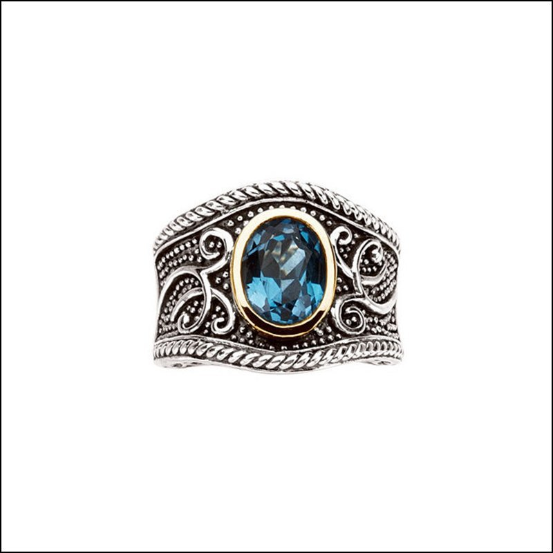 GENUINE SWISS BLUE TOPAZ RING