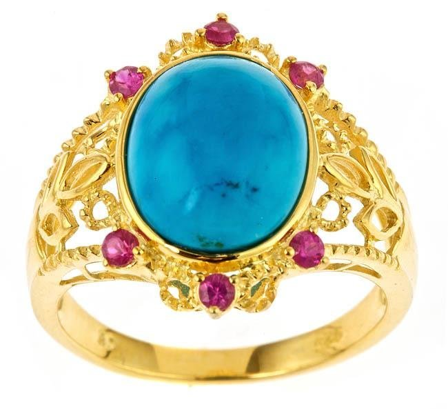 GOLD OVER SILVER TURQUOISE AND RUBY RING