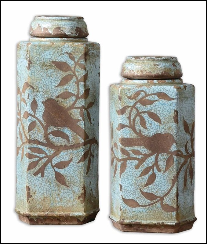 FREYA CERAMIC TALL CONTAINERS, SET/2