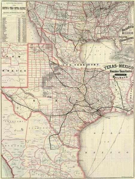 HOUSTON AND TEXAS CENTRAL RAILWAY - TEXAS AND MEXICO,