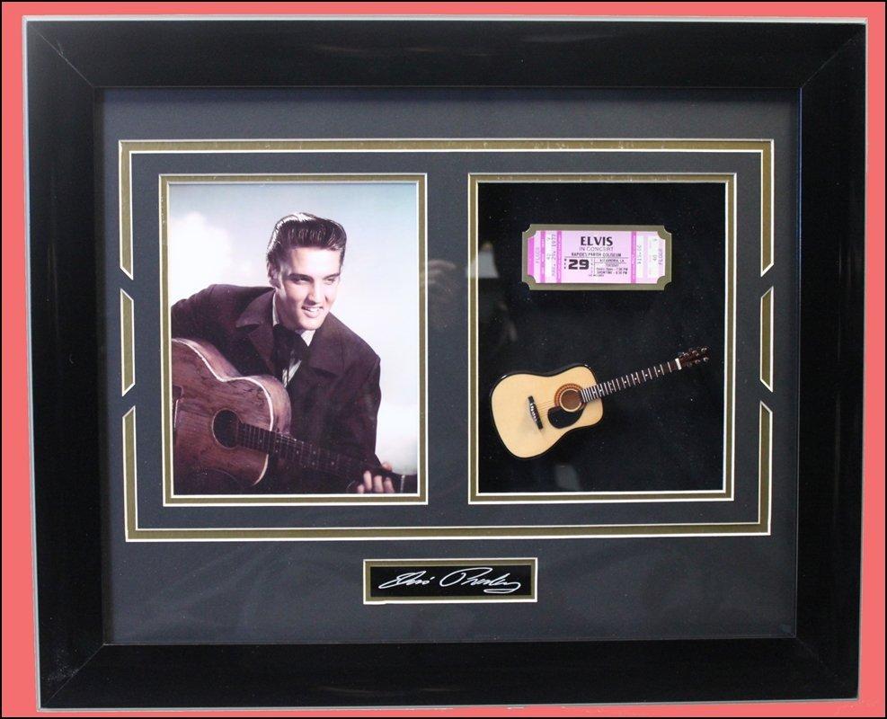 Elvis Collage - Mini Guitar / Ticket Stub