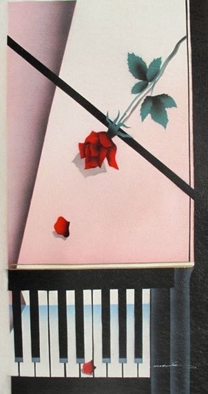 ROSE ON PIANO SIGNED ORIGINAL OIL PAINTING ON CANVAS