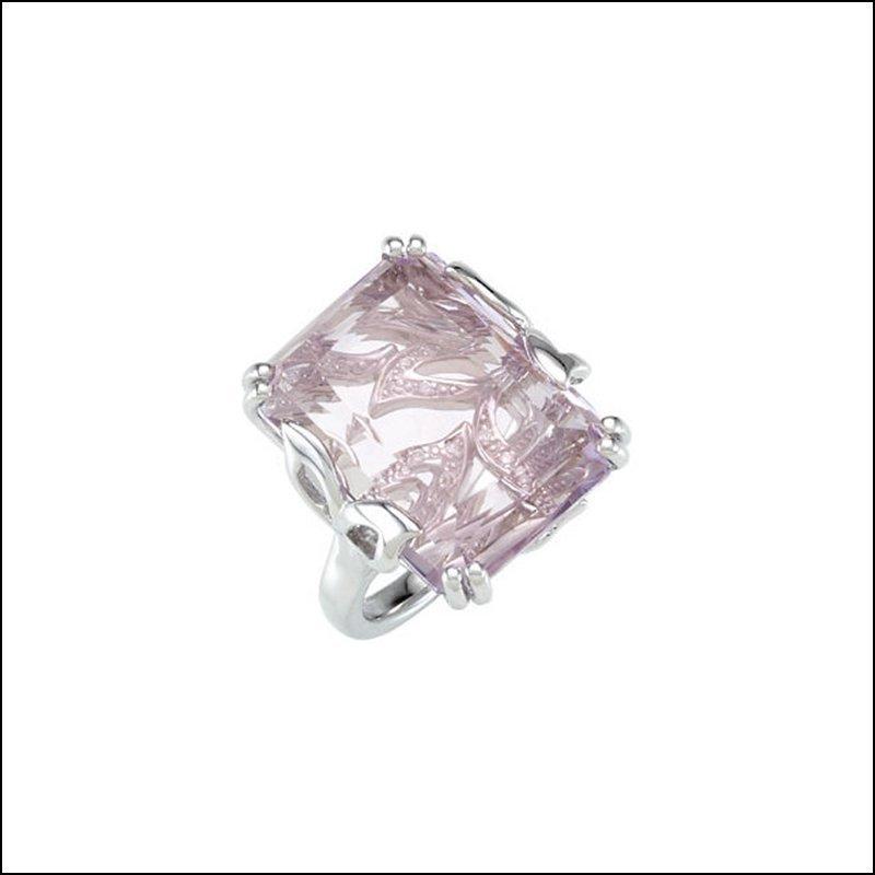 GENUINE ROSE DE FRANCE QUARTZ & DIAMOND RING