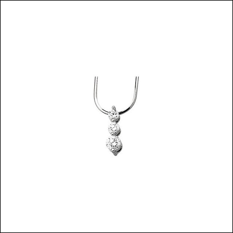 CUBIC ZIRCONIA 3-STONE NECKLACE