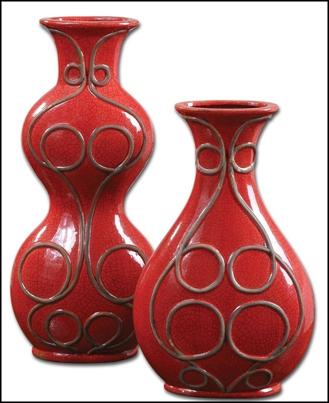 MIAKA RED CERAMIC VASES, SET/2
