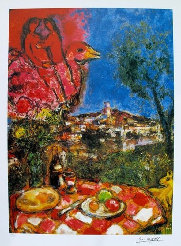 MARC CHAGALL LOVERS OVER CITY LIMITED ED. LITHOGRAPH