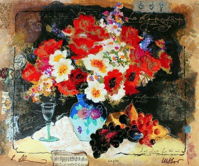 WISSOTZKY - FLOWERS WITH A GLASS OF WINE
