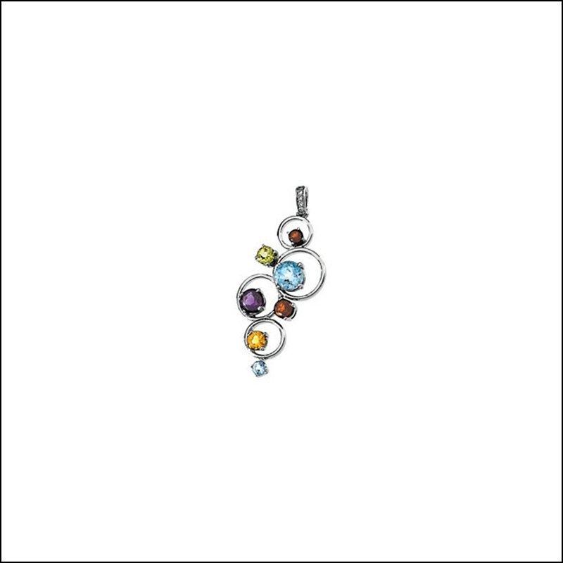 GENUINE MULTICOLOR GEMSTONES & DIAMOND CIRCLES PENDANT