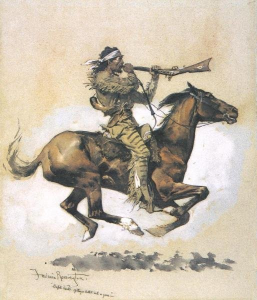FREDERIC REMINGTON - BUFFALO HUNTER SPITTING A BULLET