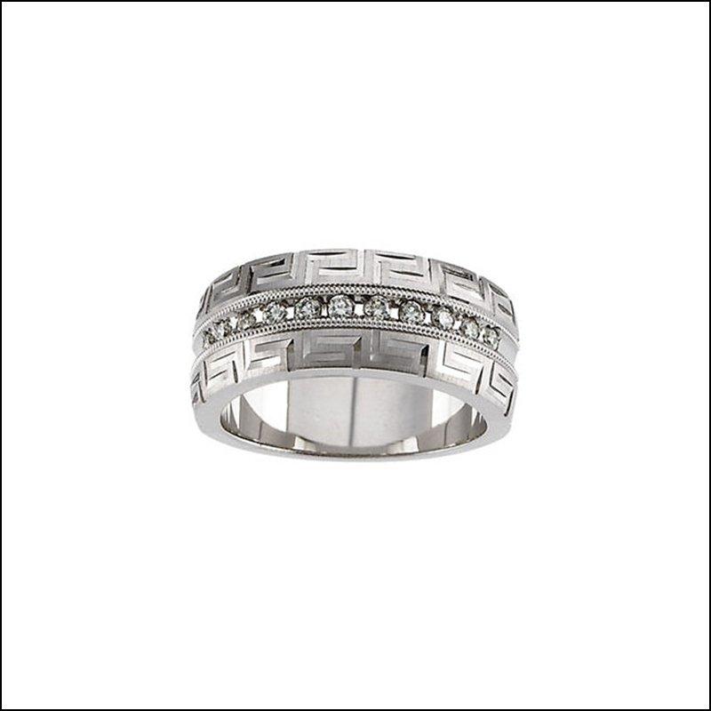 1/5 CT TW DIAMOND GREEK KEY DESIGN ANNIVERARY BAND
