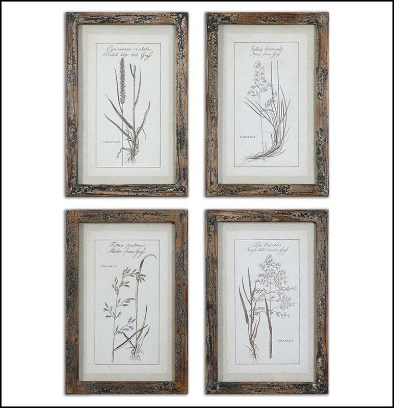 GRASSES FRAMED ART SET/4