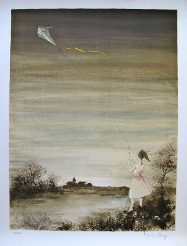 BERNARD CHAROY GIRL WITH KITE HAND SIGNED LIMITED ED.