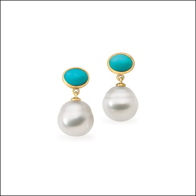 SOUTH SEA CULTURED PEARL & GENUINE TURQUOISE EARRINGS