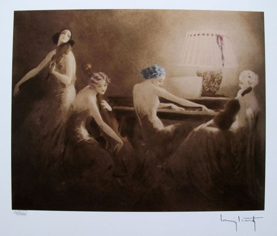 LOUIS ICART MELODY HOUR FACSIMILE SIGNED LIMITED ED.