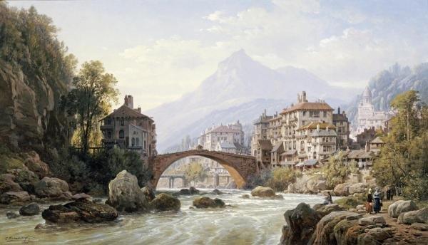 CHARLES EUPHRASIE KUWASSEG - LE VIEUX PONT ROMAIN DE