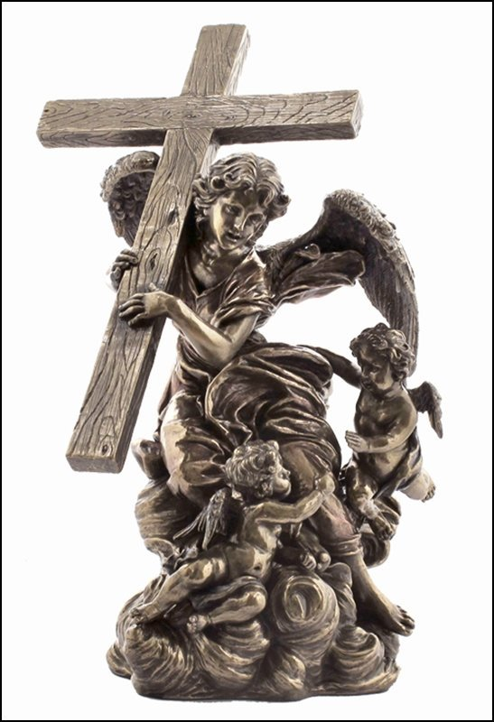 ANGEL CARRYING CROSS - COLD CAST BRONZE