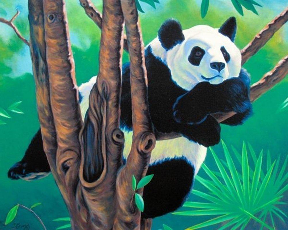 CHARLES LYNN BRAGG PANDA IN TREE HAND SIGNED LIMITED