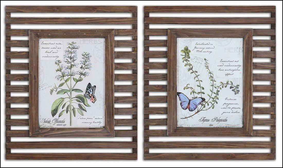 HERBS & BUTTERFLIES WOOD FRAMED ART
