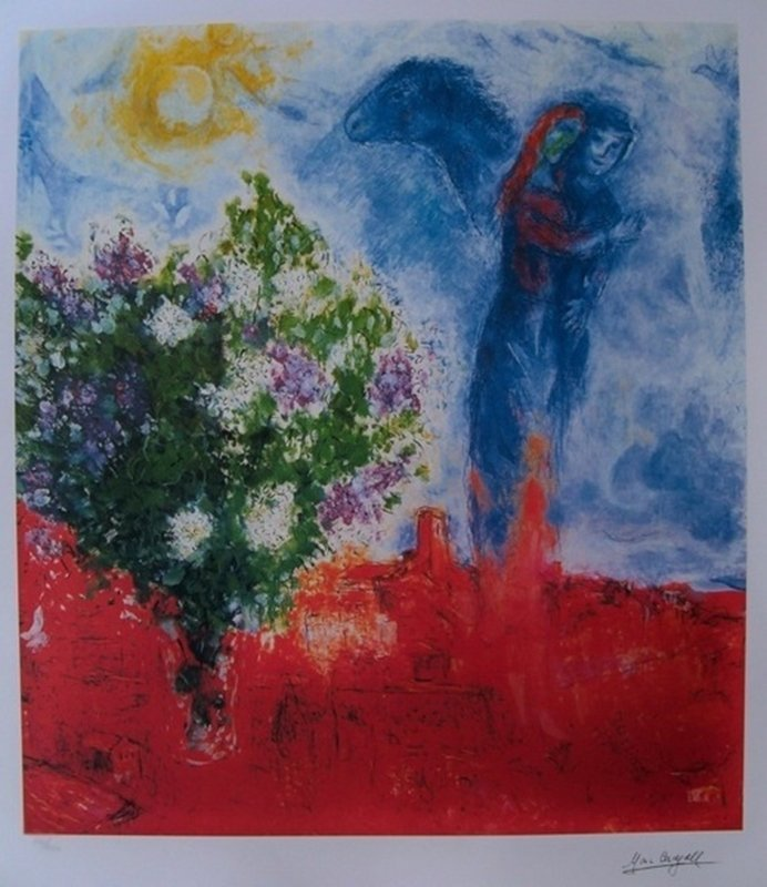 MARC CHAGALL COUPLE ABOVE ST. PAUL LIMITED ED.