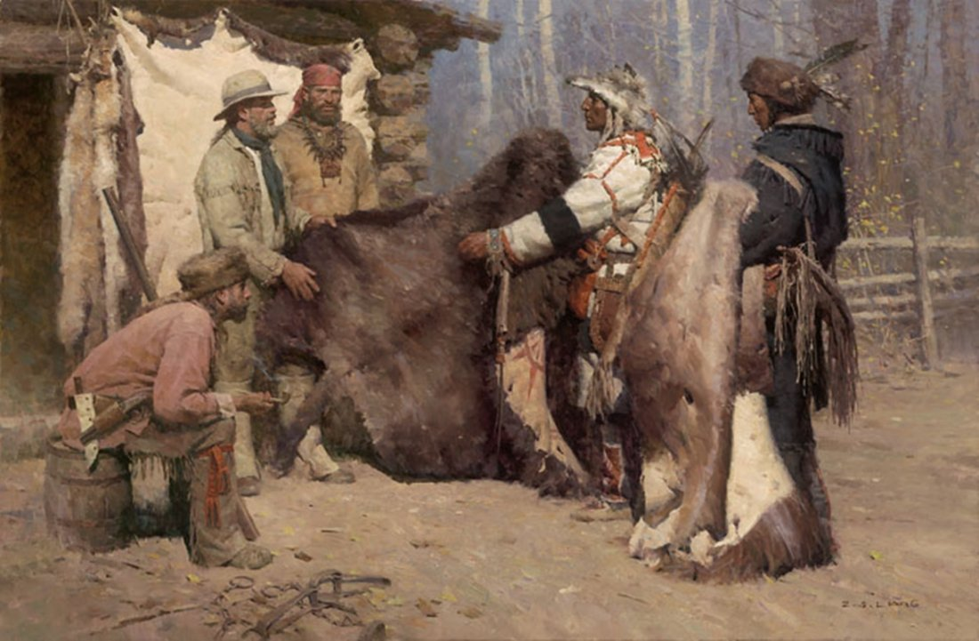 PAINTED ROBE FOR POWDER AND BALL, MUSSELSHELL VALLEY,